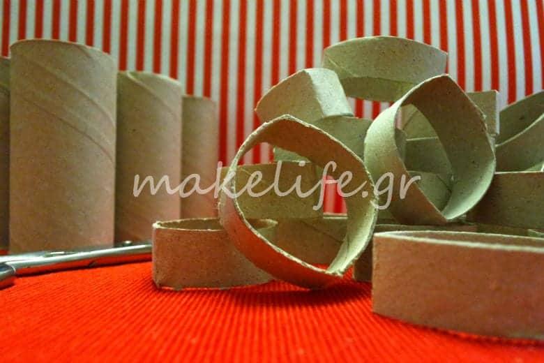 Χριστουγεννιάτικα στολίδια με ρολά από χαρτί τουαλέτας