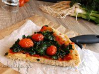 Νηστίσιμη πίτσα με σπανάκι και ντοματίνια